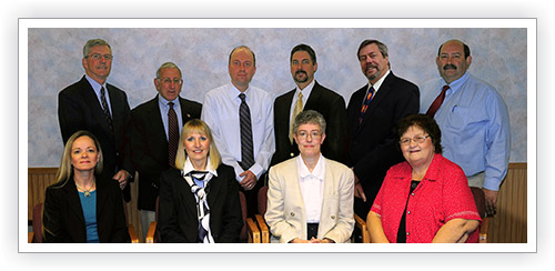 Back Row Standing: Norman Collins, Treasurer, David Wakem, Dr. Shawn Laferriere, Dr. Craig Small, Peter Doebener, Kenneth Hensler Front Row Seated: Kris Doody, RN, Cary Medical Center, CEO, Mary Harrigan, JCF Executive Director, Pamela Scheppele, Board President, Mary Ann Chasse
